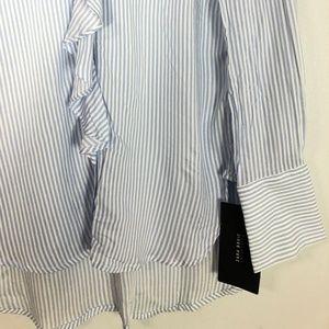 Zara Tops - NWT $36  ZARA Blue Striped Ruffle Shirt - XS